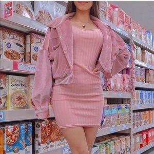 Pink ribbed bodycon mini dress spaghetti straps